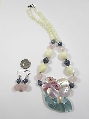 "Lee Sands Shell Inlaid ""Vintage"" Hibiscus Necklace w/Earring Set Handmade Hawaii"