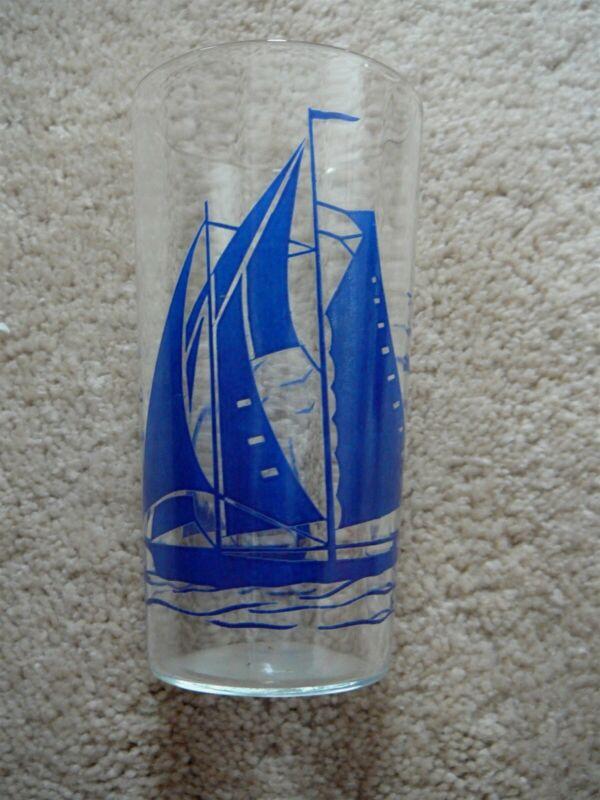 "Vintage ART DECO TALL 5"" SWANKY SWIG BLUE SAILBOAT CLEAR GLASS TUMBLER EUC"