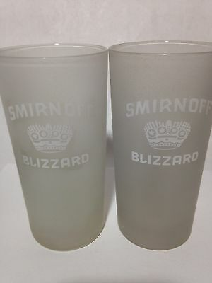 TWO 2 Rare Smirnoff Blizzard FROSTED Drinking Glasses High Ball Tumblers