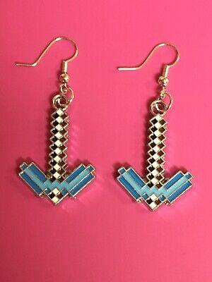 Blue Diamond Dangle Earrings - Blue Diamond Sword Earrings/ Dangle Hook Earrings/Gaming/Minecraft/Cool/Gamer