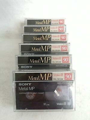 6 x Sony Metal MP90 Video 8 hi8 8mm Camcorder Tapes, all in original boxes