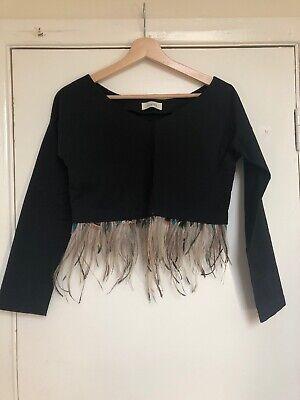 Isa Arfen Feathers Crop Top Size 8 Uk
