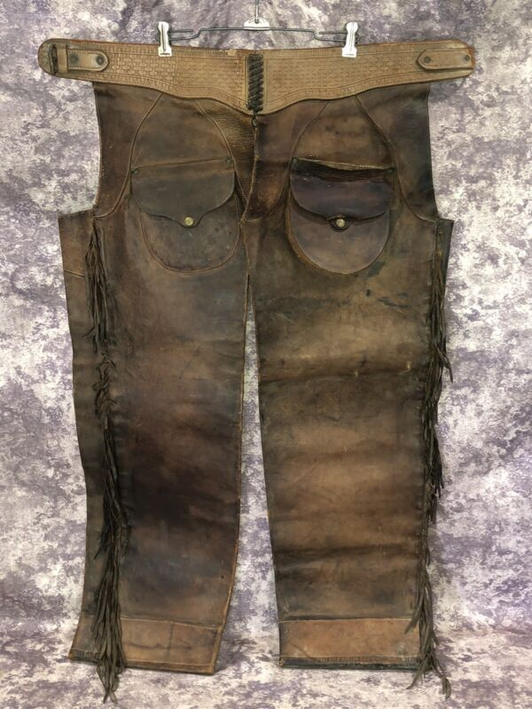 Vintage Leather Cowboy Western Shotgun Chaps As Is For Decoration/Restoration