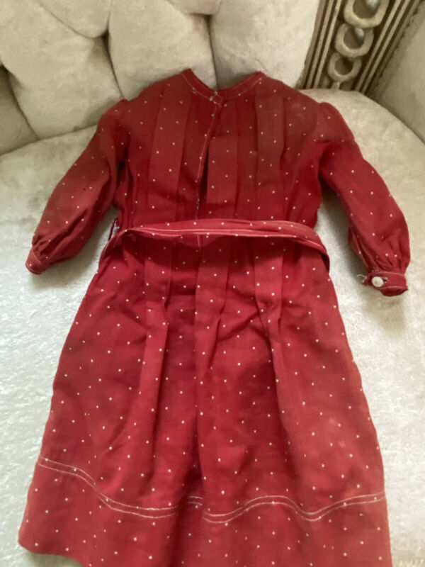 early Cotton turkey red Polka Dots 1800's doll dress primitive AFA Tie Belt