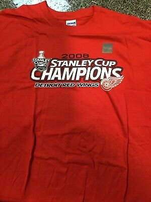 Detroit Red Wings 2008 NHL Stanley Cup Champions Men's XL Tee Shirt Red NEW! Detroit Red Wings Tee