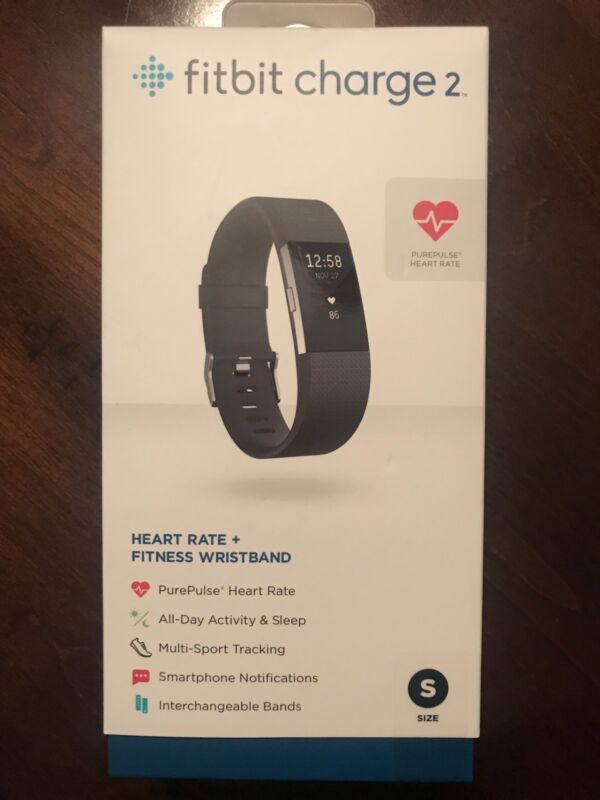 Fitbit Charge 2 Activity Tracker + Heart Rate (Small) Black Silver FB407SBKS