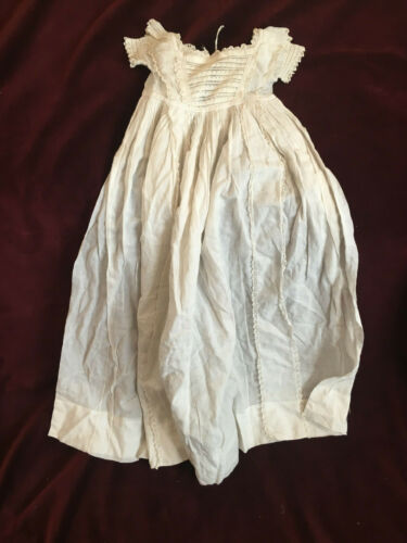 Exquisite Victorian Antique Christening long gown, ORGANDY, fine French lace