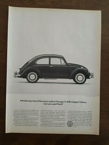 """VTG 1968 (2 PAGE) PRINT AD FOR VW-""""LEAPS INTO THE PRESENT"""""""
