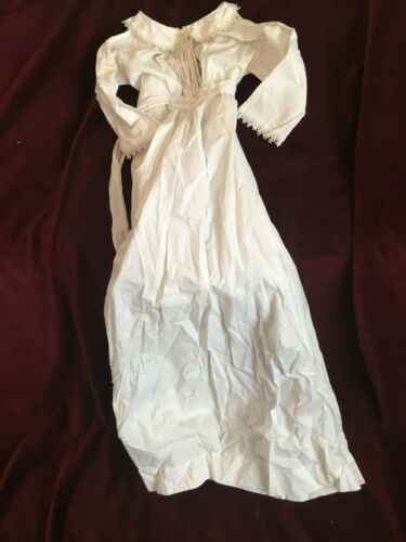 Victorian Antique baby off-white long gown with fine embroidery, ties back