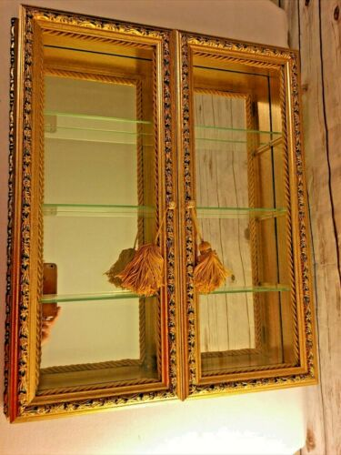 Italian Gold Gilt Double-Door Vitrine Wall Display Curio Cabinet 3 Glass Shelves