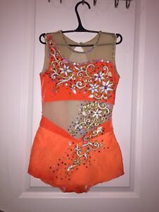 Orange rhythmic gymnastics leotard