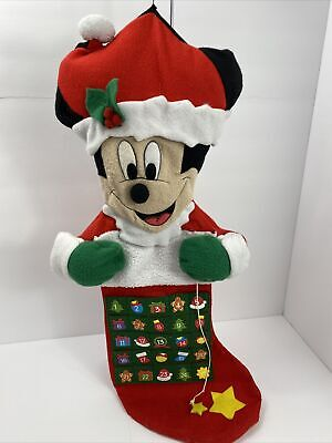 Disney Mickey Mouse in stocking Christmas Advent Talking Calendar WORKING