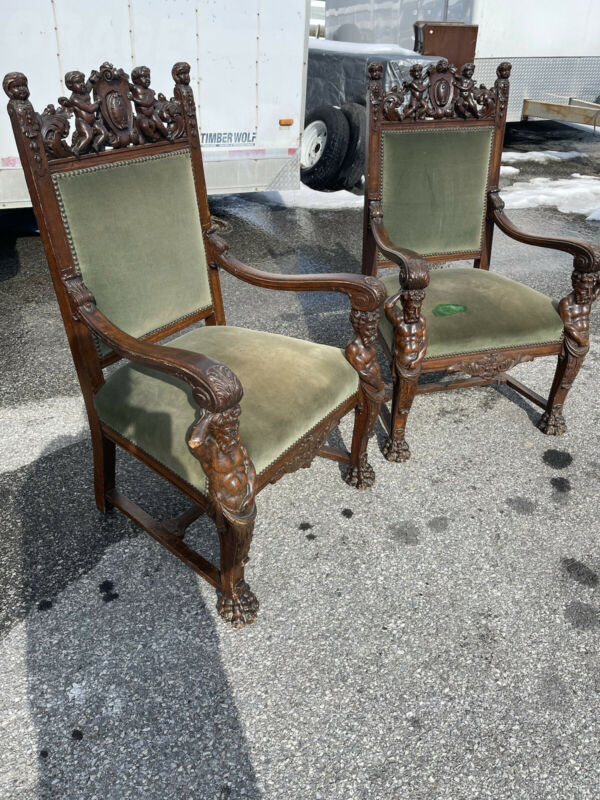 Great Pair Horner Oak Captain Chairs Original Victorian Man Of The Mountain