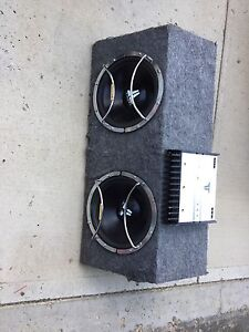 """2 - 12"""" JL subs in box with amp"""
