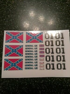 General Lee Decals 1:64 scale redline hot wheels/ Matchbox 4 sets