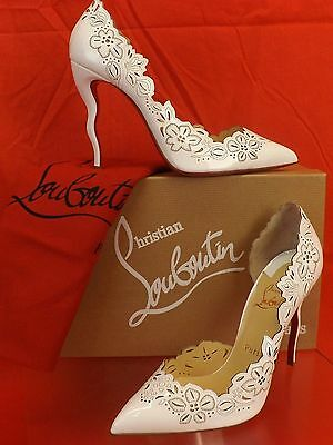 NIB LOUBOUTIN BELOVED 100 WHITE LASER CUT PATENT  LEATHER 1/2 D'ORSAY PUMPS 39.5