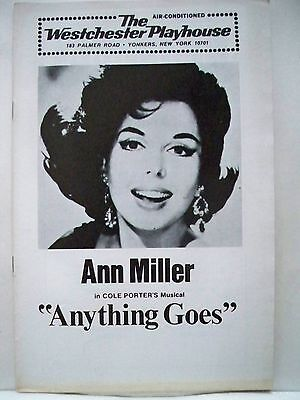 ANYTHING GOES Playbill ANN MILLER / MORT MARSHALL Westchester Playhouse 1974