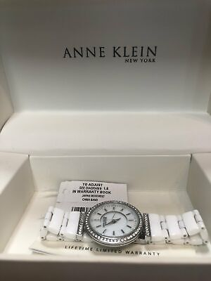Pre-oAnne Klein 12/2275SVST Swarovski Crystal Accented Silver Tone Ceramic Watch