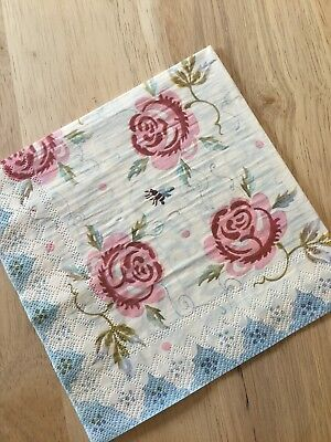VINTAGE ROSES & WORDS (CRUMBS) DOUBLE SIDED - NAPKINS DECOUPAGE VINTAGE - 3 PLY