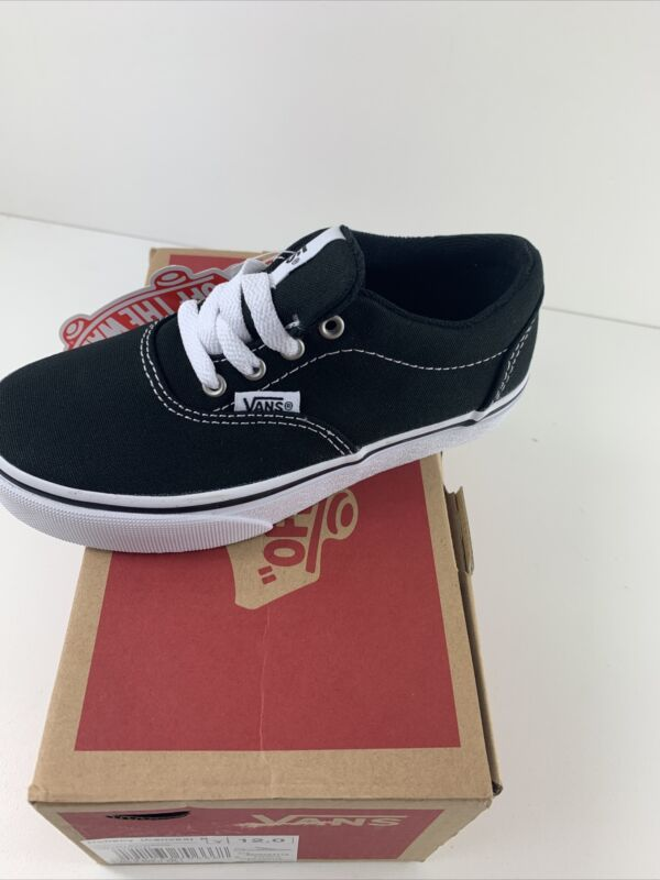 Vans Youth Canvas Black/White Low Top Shoes 12Y