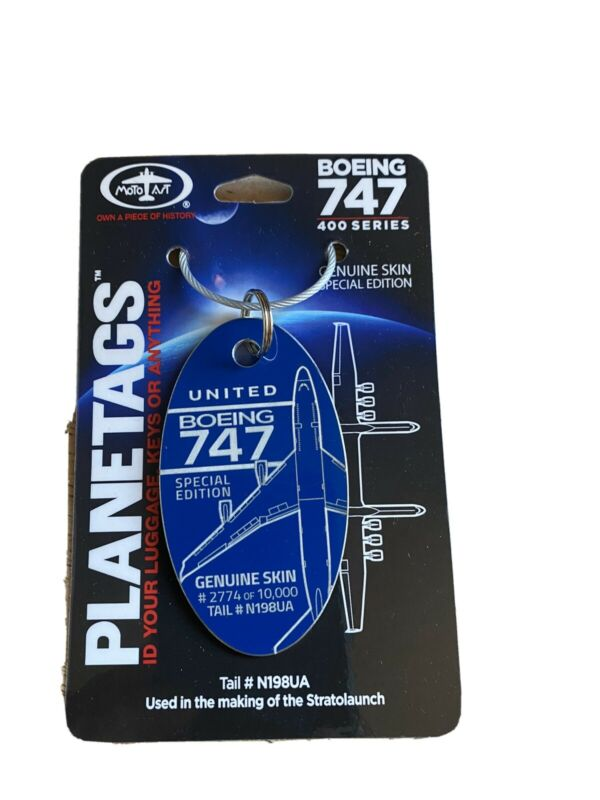 Planetags - United Airlines Boeing 747-400 Aircraft Skin Luggage Tag N198UA