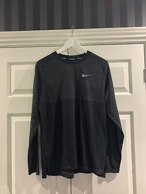 Nike Dri Fit Knit Tee Long Sleeve - Black - Medium