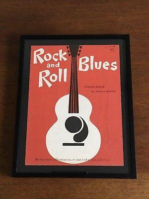 ooak Framed Vintage ROCK N ROLL BLUES Sheet Music Guitar Piano Solo Art (11x14)