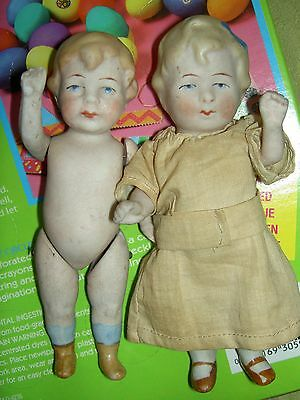 Pair Cute Antique Limbach Germany Wire Jointed All Bisque Brother   Sister Dolls