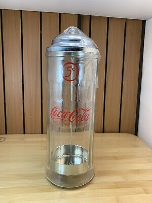 Coca Cola Glass Straw Dispenser 5 cent