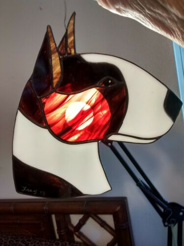 STAINED GLASS DOG - BULL TERRIER - BRINDLE