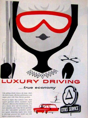 "1959 Cities Citgo Lady Skier Original Print Ad 8.5 x 11"""