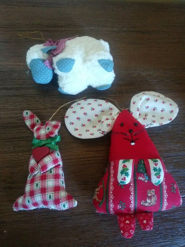 Vintage Fabric Christmas Ornaments Sheep, Rabbit, Mouse
