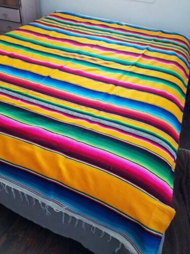 "VTG* 90s* Serape blanket* 83"" x 62"" yellow* EUC*"