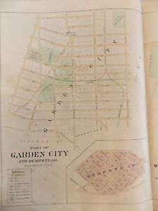 Orig Plate 27 1891 Garden City Long Island LIRR Linenback Map 15x20 ...