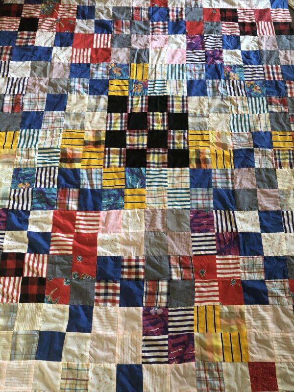 """Vintage Multi Color Patchwork Quilt Top 87""""x 64"""" Cotton"""
