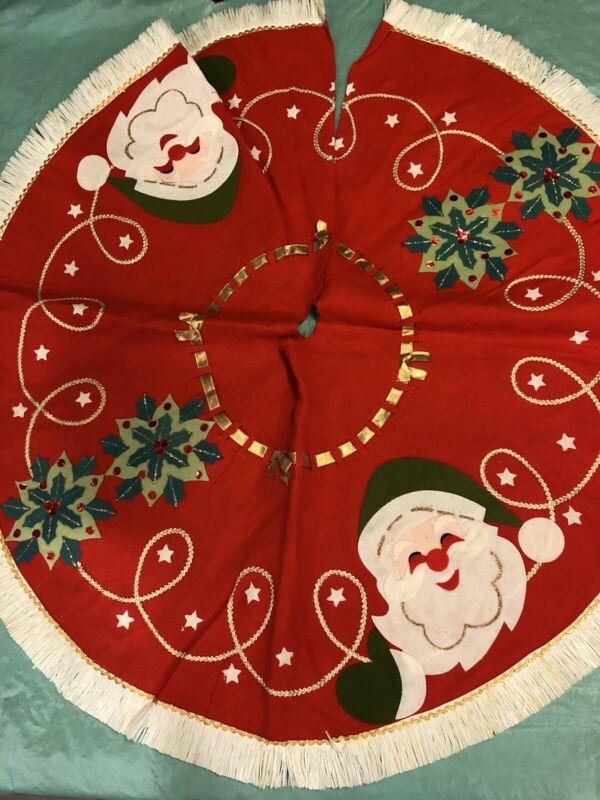 """Handmade Vintage Felt Christmas Tree Skirt Red Santa Sequins 35"""""""