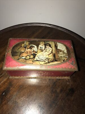 McVitie & Price antique hinged Biscuit tin vintage storage The Mouses Petition