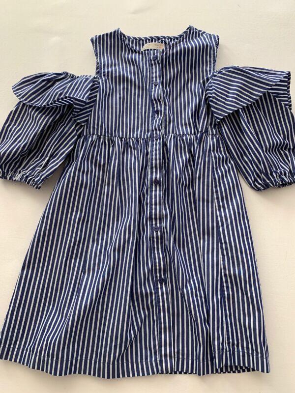 Euc Zara Girls size 10 Blue Striped Dress