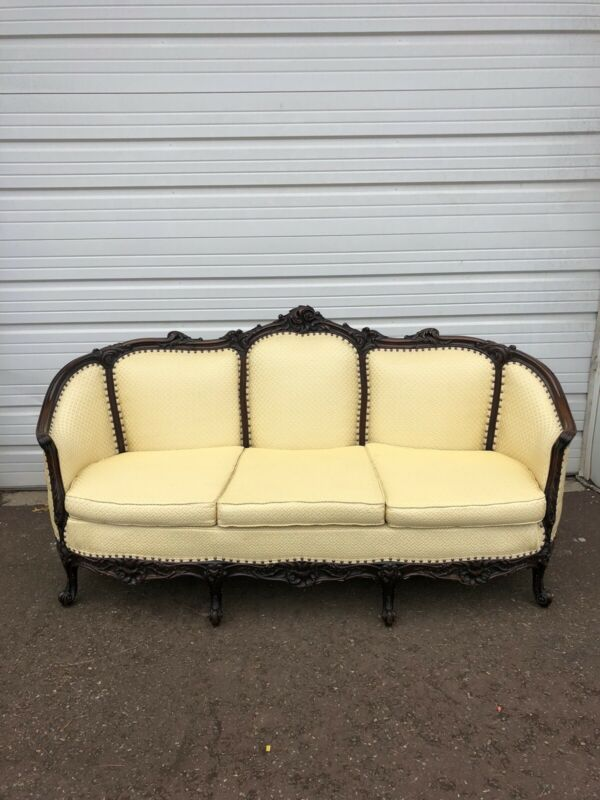 Antique Mahogany Sofa With Decorative Wood Carving Couch