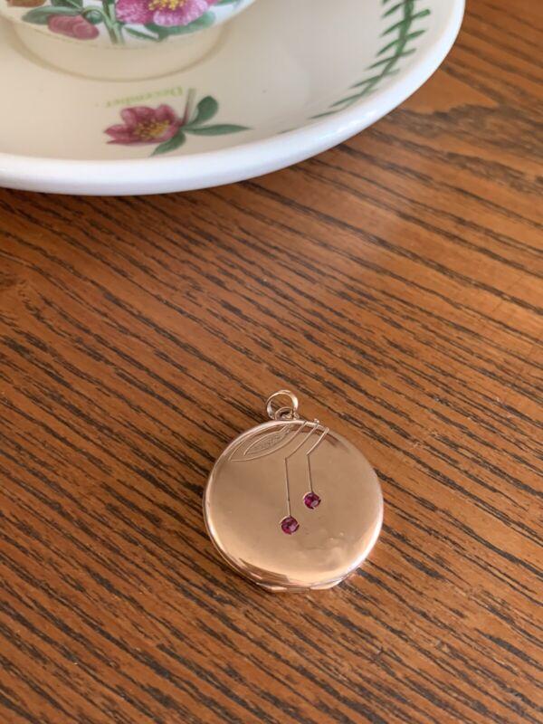 8k Solid Rose GOLD 2 RUBY Art Nouveau LOCKET Jugendstil Antique Round Pendant