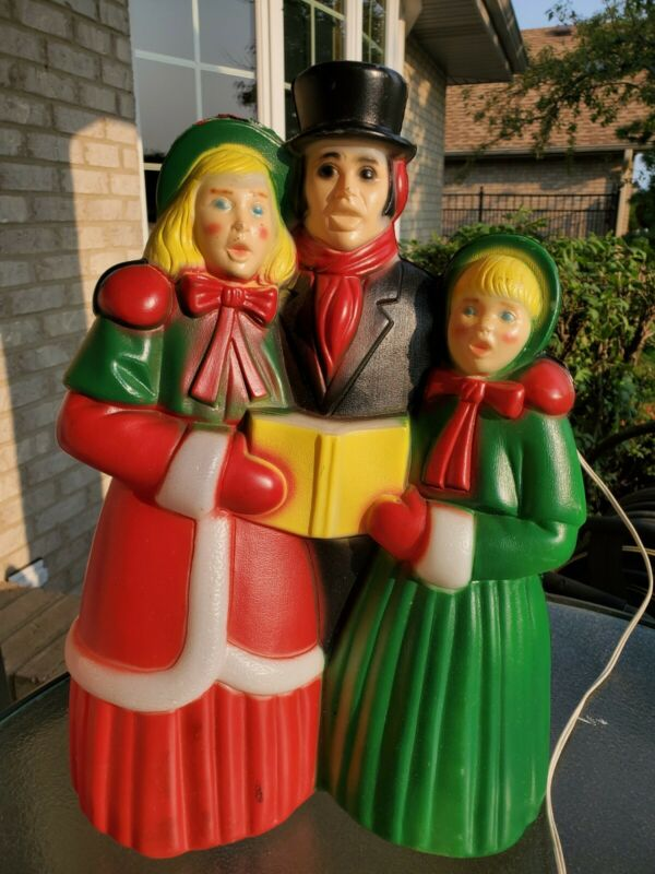 "Vtg Empire Victorian Dickens Carolers Christmas Blow Mold Light Yard Decor 18"" A"