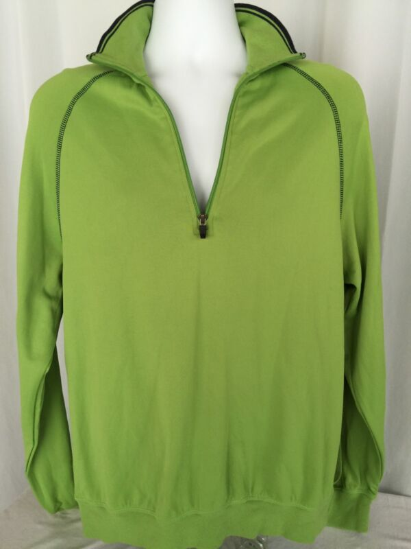 Page & Tuttle Sweater 1/4 Zip Pull Over Lime Green Men's Size M