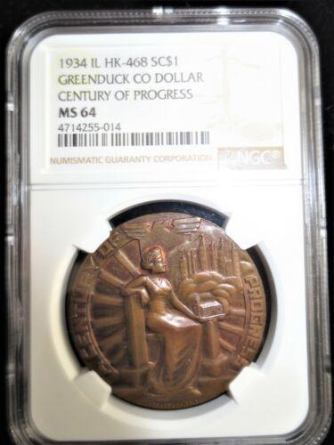 1934 HK-468 Greenduck Dollar, Century of Progress Expo, NGC MS64, R5 (76-200)