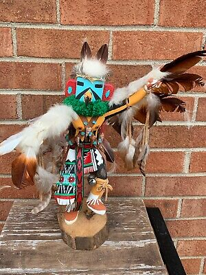 RED TAIL HAWK Dancer Pow Wow American Indian Feather HOPI Totem Sculpture ❤️/m9/