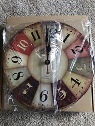 Café de la Tour Retro style wall clock 12-inch silent non-ticking