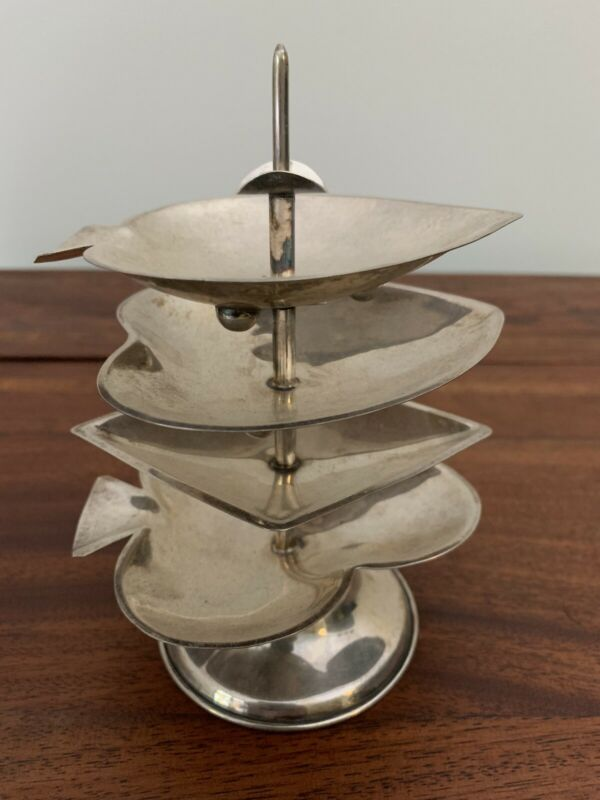 4 Mexican Sterling Silver Bridge Poker Playing Card Stacking Ashtrays C. 1955-80