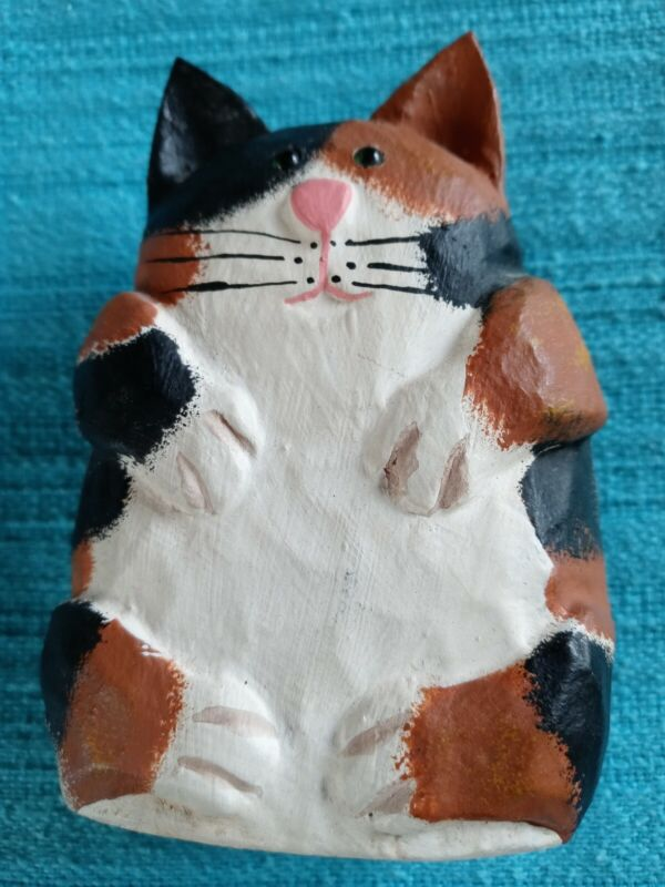 """James Haddon Wooden Hand Carved & Painted Cat Figurine Signed 4.5"""" Tall KITTEN"""