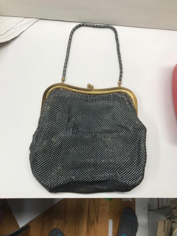 Whiting & Davis vintage evening black metal mesh bag Gold frame and chain