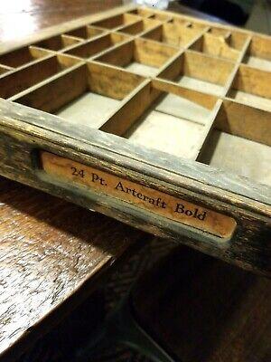 Antique Wood Printer's Tray - Letterpress Typesetting Vintage Box #3