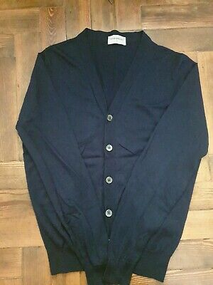JOHN SMEDLEY Mens Navy Blue 100% Merino Wool Cardigan Size Small